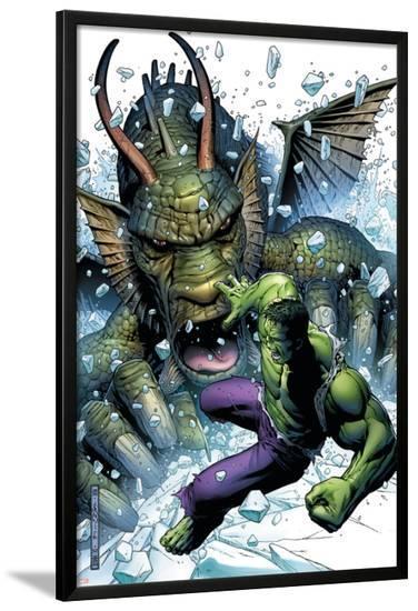 Hulk Vs. Fin Fang Foom No.1 Cover: Hulk and Fin Fang Foom-Jim Cheung-Lamina Framed Poster