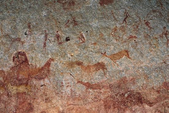 Human and Animal Figures, Cave Paintings, Chamavara Cave, Masvingo, Zimbabwe--Giclee Print