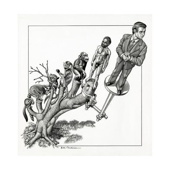 Human Evolution, Conceptual Artwork-Bill Sanderson-Giclee Print