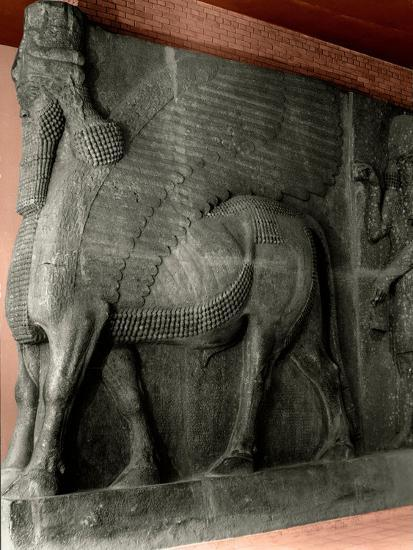 Human-Headed Winged Bull and Attendant Genie from the Palace of Sargon II at Khorsabad--Giclee Print