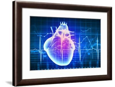 Human Heart with Cardiogram-Sergey Nivens-Framed Art Print