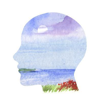 Human Profile with Sea Landscape- carlacastagno-Art Print