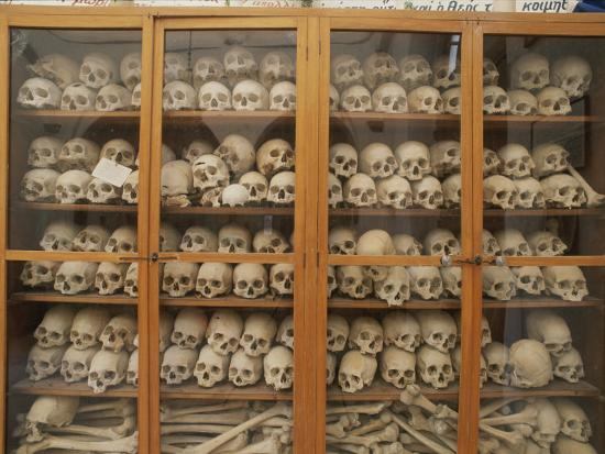 Human Skulls and Femurs Fill a Display Case at Nea Moni Monastery-Tino Soriano-Photographic Print