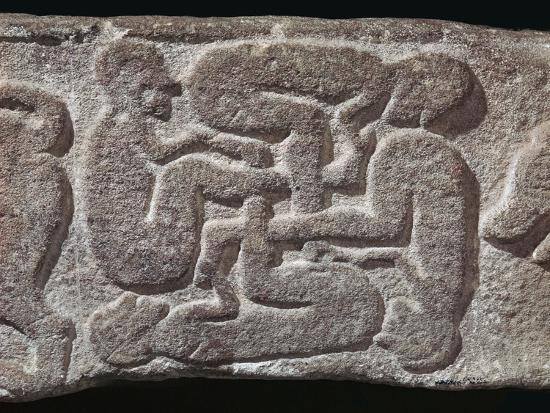 Human swastika motif from a Pictish grave-slab, 7th century Artist: Unknown-Unknown-Giclee Print