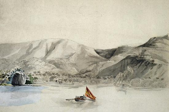 Humata Harbour, Mariana Islands, Drawing from Journey around World, 1817-1820-Louis De Freycinet-Giclee Print