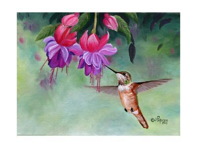 Hummer and Pink Fuchsias-Julie Peterson-Art Print