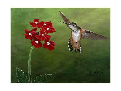 Hummer and Red Flowers-Julie Peterson-Art Print