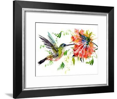 Hummingbird And Flowers 3-Suren Nersisyan-Framed Art Print