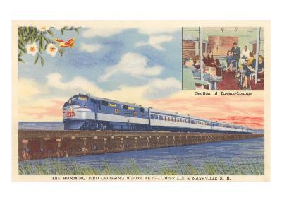Hummingbird Train Crossing Biloxi Bay--Art Print