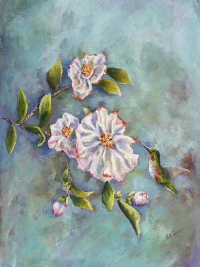 Hummingbird with Camellias-Sarah Davis-Giclee Print