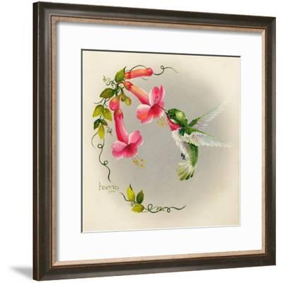 Hummingbirds with Trumpet Flowers 1-Peggy Harris-Framed Giclee Print