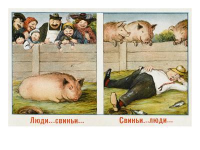 Humourous Russian Postcard--Giclee Print