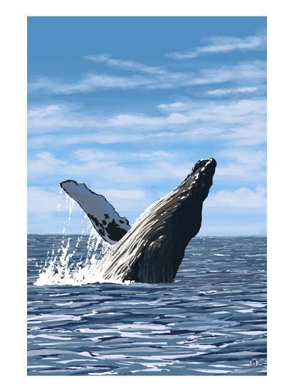 Humpback Whale - Ocean-Lantern Press-Art Print