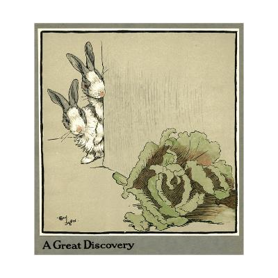 Humpty and Dumpty the Rabbits Find a Cabbage-Cecil Aldin-Giclee Print