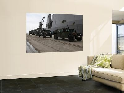 Humvees Depart Uss Harpers Ferry in Support of Operation Tomodachi-Stocktrek Images-Wall Mural