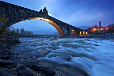 Hunchbacked Devil Bridge in Bobbio, Trebbia Valley, Piacenza, Emilia Romagna, Italy-ClickAlps-Photographic Print