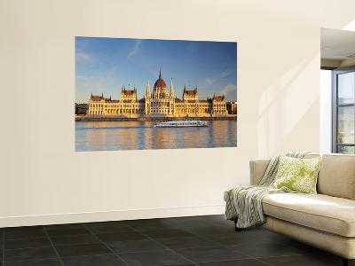 Hungarian Parliament Building and River Danube, Budapest, Hungary-Doug Pearson-Wall Mural