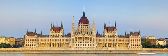 Hungarian Parliament Building and the River Danube Illuminated at Dusk, Budapest, Hungary-Doug Pearson-Photographic Print