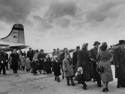 Hungarian Political Refugees Getting Off an Airplane-Carl Mydans-Photographic Print