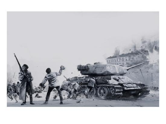 Hungarian Uprising of 1956-Graham Coton-Giclee Print