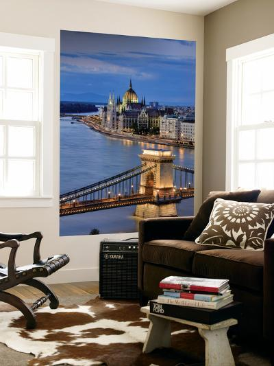 Hungary, Budapest, Parliament Buildings, Chain Bridge and River Danube-Michele Falzone-Wall Mural