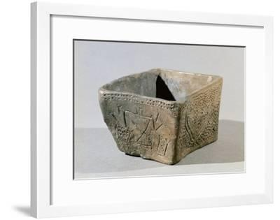 Hungary, Magyar Nemzeti Muzeum, Square Vase Made of Clay with Engraving of Female Figure From--Framed Giclee Print