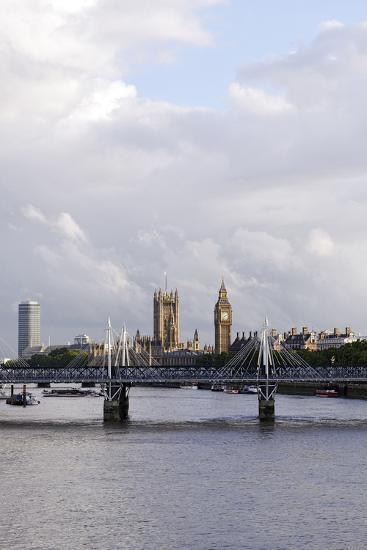 Hungerford Foot Bridge across the Thames, London, England, Uk-Axel Schmies-Photographic Print