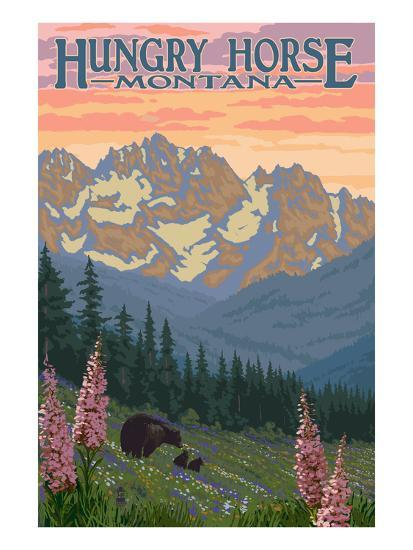 Hungry Horse, Montana - Bear Family and Spring Flowers-Lantern Press-Art Print