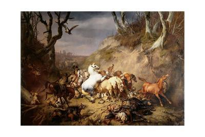 Hungry Wolves Attack a Group of Riders, by Eugene Joseph Verboeckhoven, 1836-Eugene Joseph Verboeckhoven-Giclee Print
