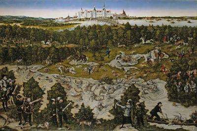 Hunt in Honour of Emperor Ferdinand I at Torgau Castle-Lucas Cranach the Elder-Giclee Print