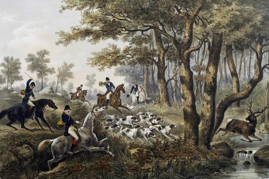 Hunt, Lithograph, France, 19th Century--Giclee Print