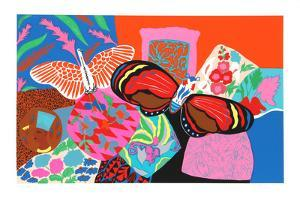 Untitled - Bird and Butterfly by Hunt Slonem