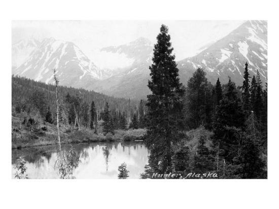 Hunter, Alaska - View of Mountains and a Lake-Lantern Press-Art Print