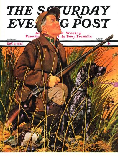 """Hunter and Dog in Field,"" Saturday Evening Post Cover, November 9, 1935-J^F^ Kernan-Giclee Print"