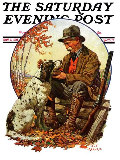 """Hunter and Spaniel,"" Saturday Evening Post Cover, November 3, 1928-J^F^ Kernan-Giclee Print"