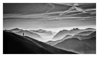 Hunter In The Fog Bw-Vito Guarino-Giclee Print