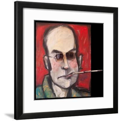 Hunter S Thompson with Cig Black-Tim Nyberg-Framed Giclee Print