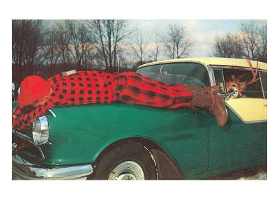 Hunter Strapped to Fender, Deer Driving--Art Print