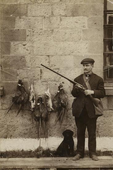 Hunter with Pheasants--Photographic Print