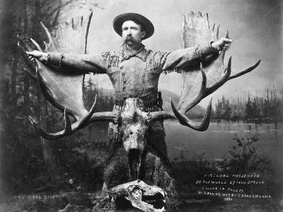 Hunter with Record Moose Antlers--Photographic Print