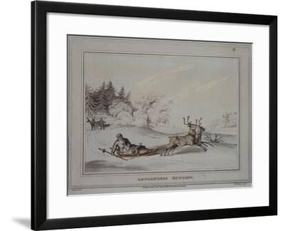 Hunter with Sleigh and Reindeer, Lapland 19th Century--Framed Giclee Print