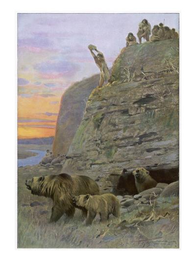 Hunters Attack a Family of Cave-Bears, Hoping to Take over their Home and Become Cave-Men--Giclee Print