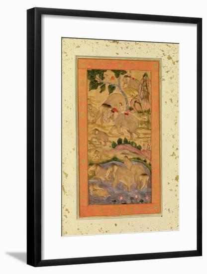 Hunters Capturing Elephants, from the Large Clive Album, C.1760-65 (Tinted Drawing on Paper)-Mughal-Framed Giclee Print