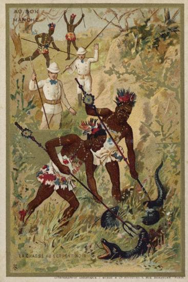 Hunting a Black Snake--Giclee Print