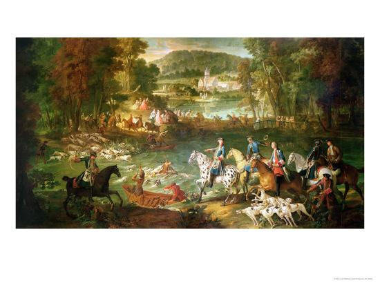 Hunting at the Saint-Jean Pond in the Forest of Compiegne, Before 1734-Jean-Baptiste Oudry-Giclee Print
