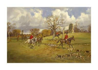 Hunting below the ruins at Knepp (Sussex) Castle-John King-Premium Giclee Print