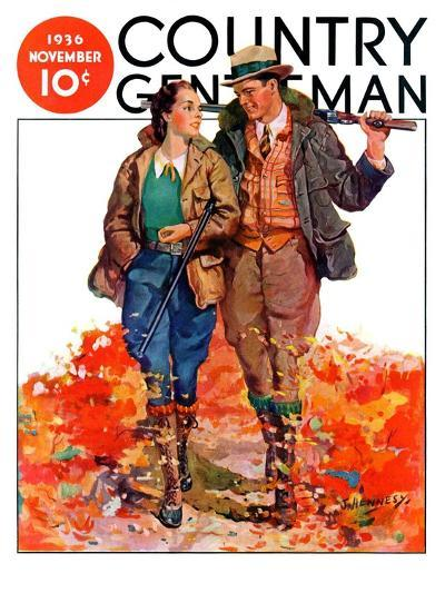 """""""Hunting Couple on Walk,"""" Country Gentleman Cover, November 1, 1936-J. Hennesy-Giclee Print"""