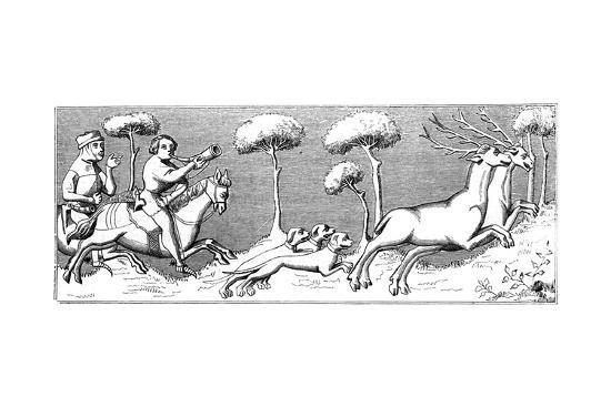 Hunting Deer with Dogs, 14th Century--Giclee Print