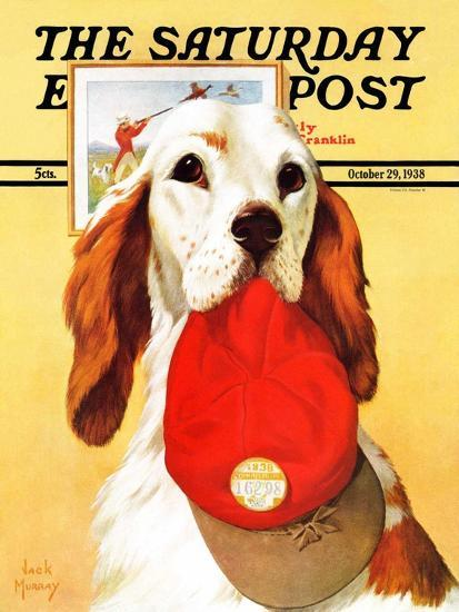 """""""Hunting Dog and Cap,"""" Saturday Evening Post Cover, October 29, 1938-Jack Murray-Giclee Print"""