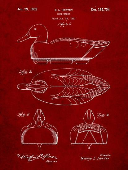 Hunting Duck Decoy Patent-Cole Borders-Art Print